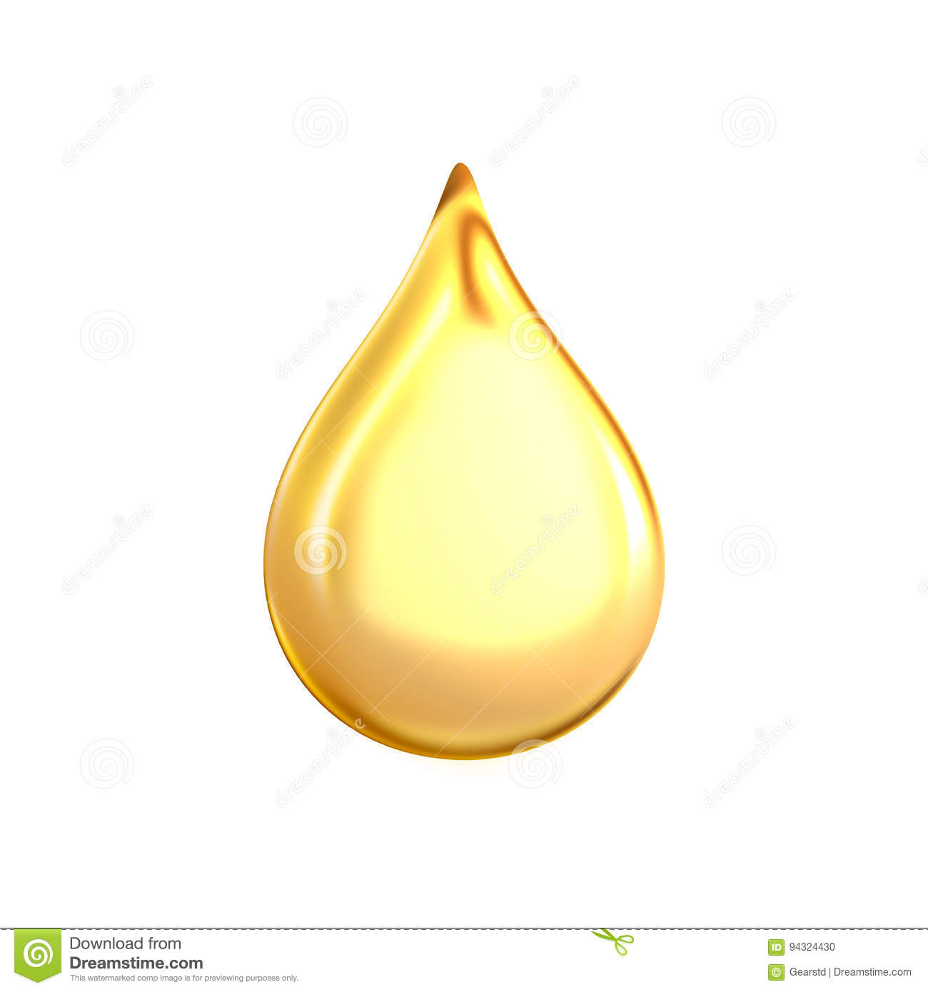 3d rendering of a large yellow bright and clean oil drop isolated on white background.