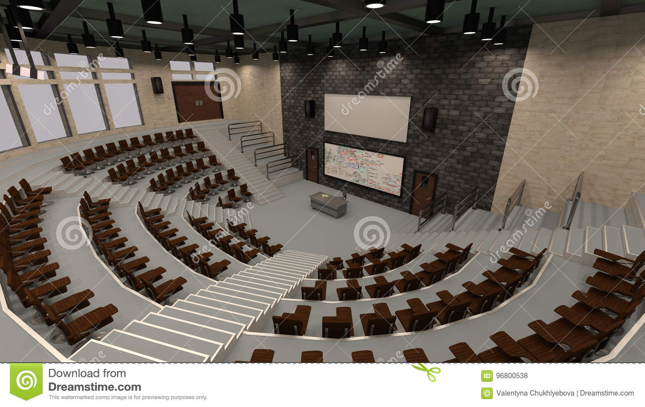 3D Rendering Lecture Hall stock illustration  Illustration