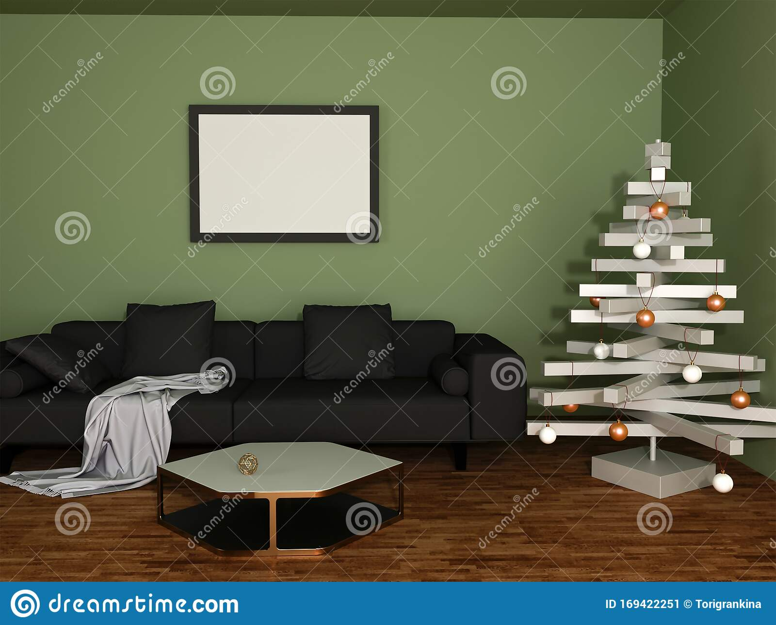 3d Rendering Of Living Room With Black Sofa Green Olive Walls And Christmas Decoration Stock Illustration Illustration Of Interior House 169422251