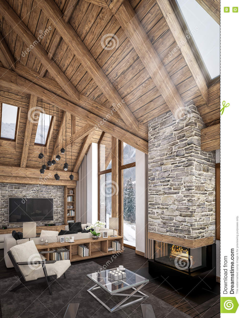 3D Rendering Of Living Room Of Chalet Stock Illustration ...