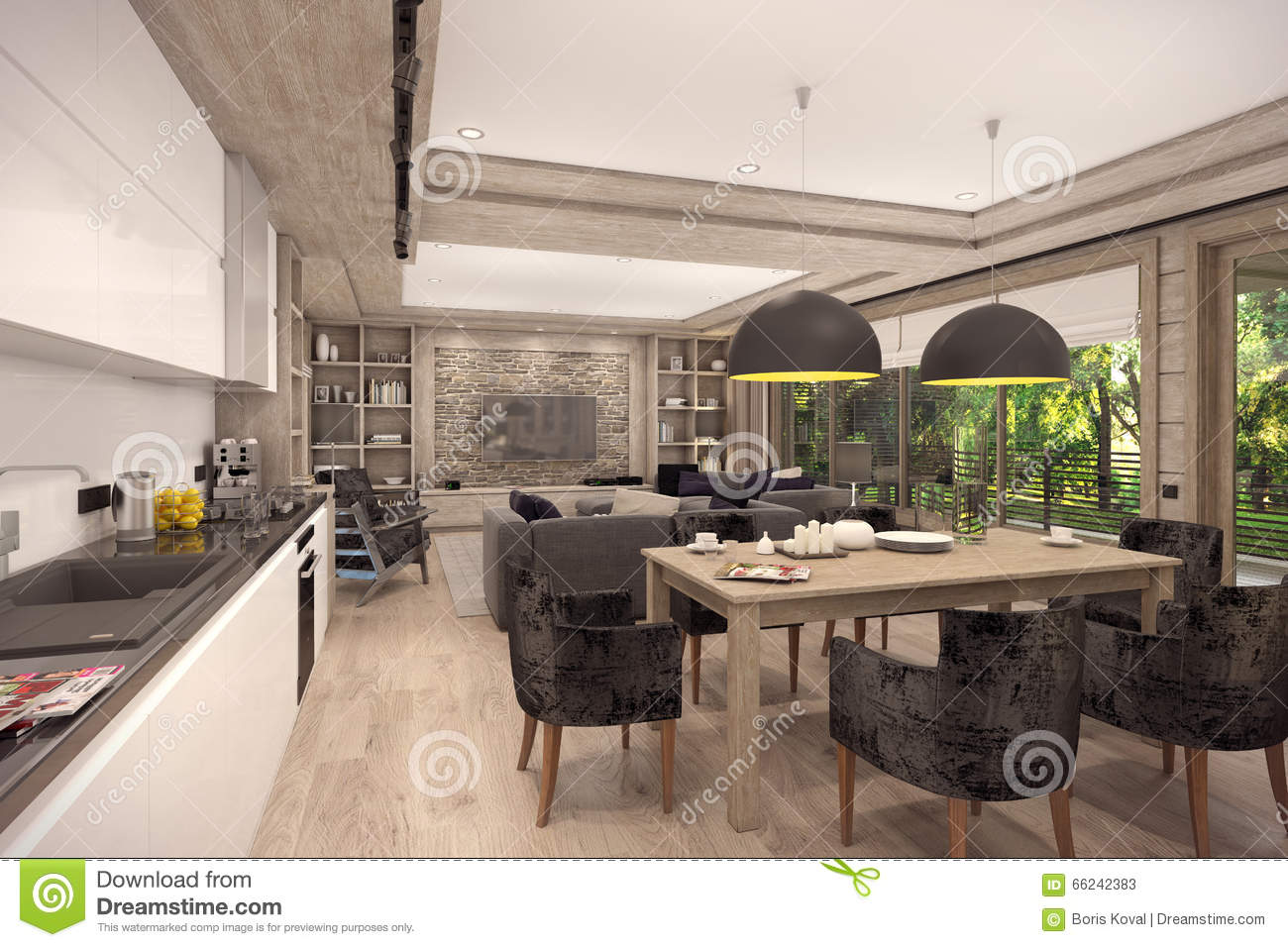 3d Rendering Of Living Room Of A Country House Stock Illustration Image 66242383