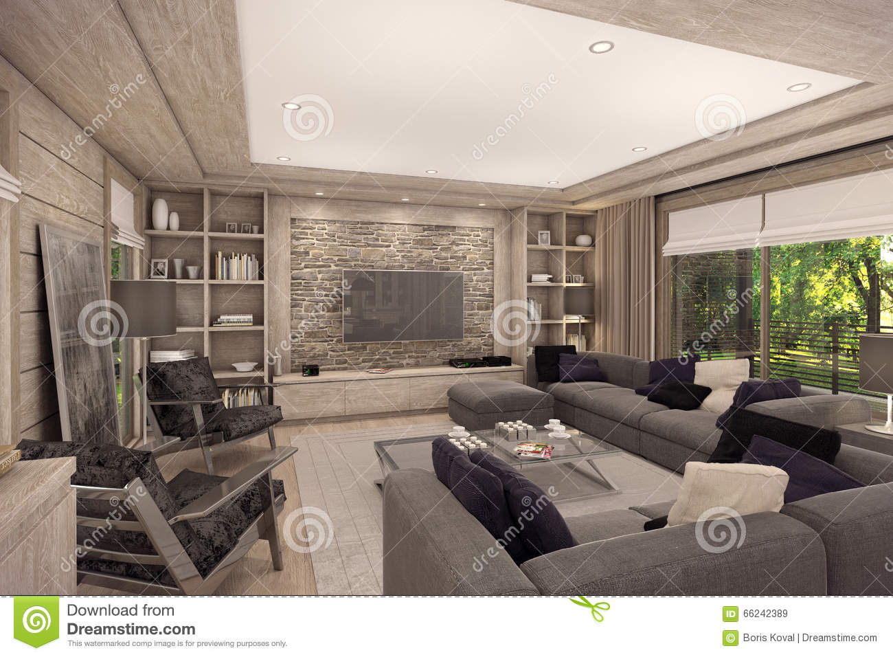 3d Rendering Of Living Room Of A Country House Stock