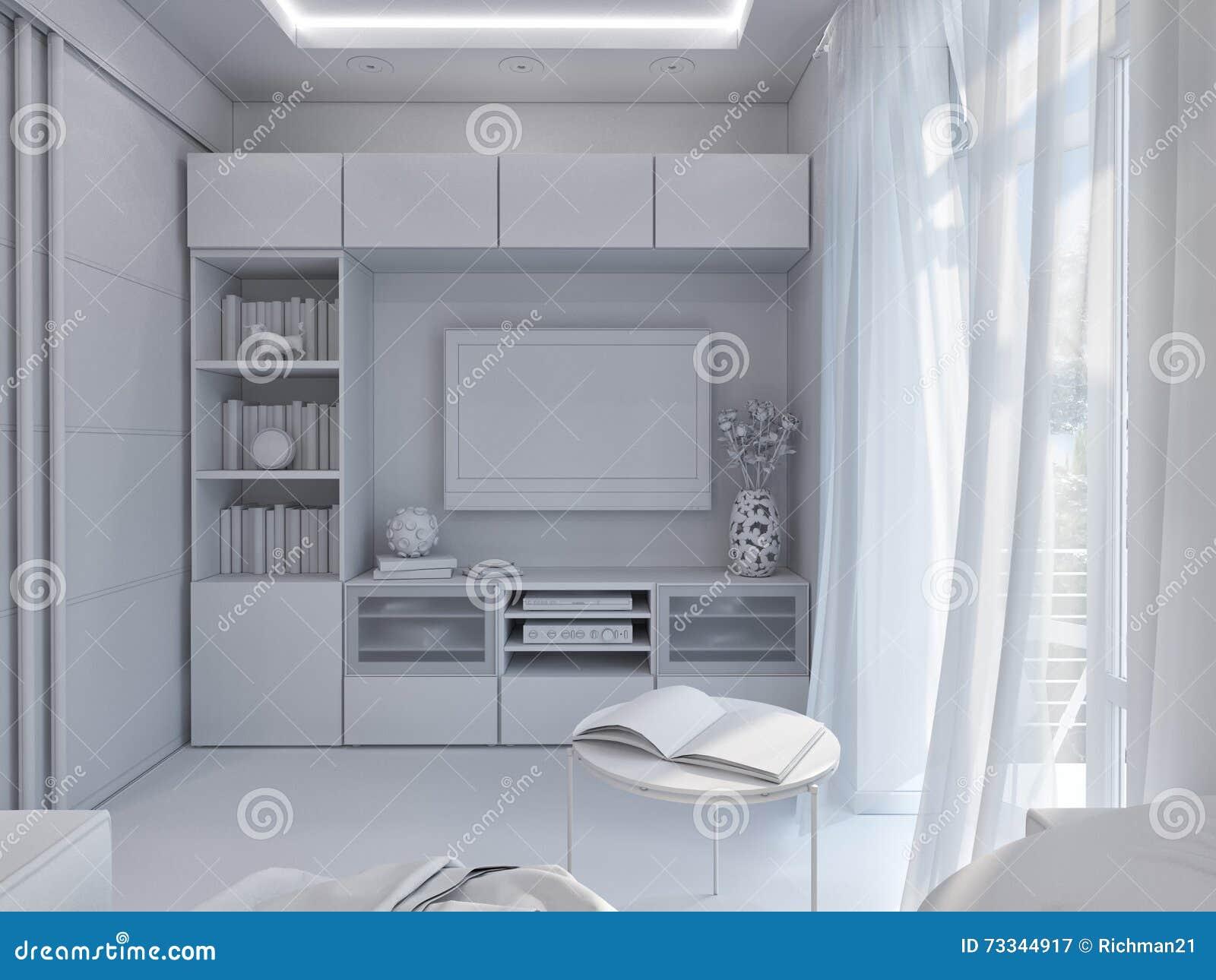 3d rendering living room interior design stock for Minimalist studio apartment interior design
