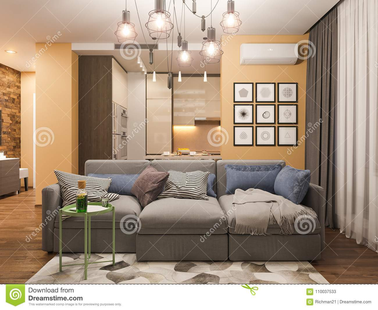 3d Rendering Living Room Interior Design Modern Studio Apartment In