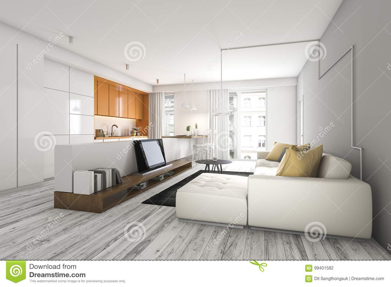 3d Rendering Living Room With Sofa And Tv Near Kitchen Bar Stock ...