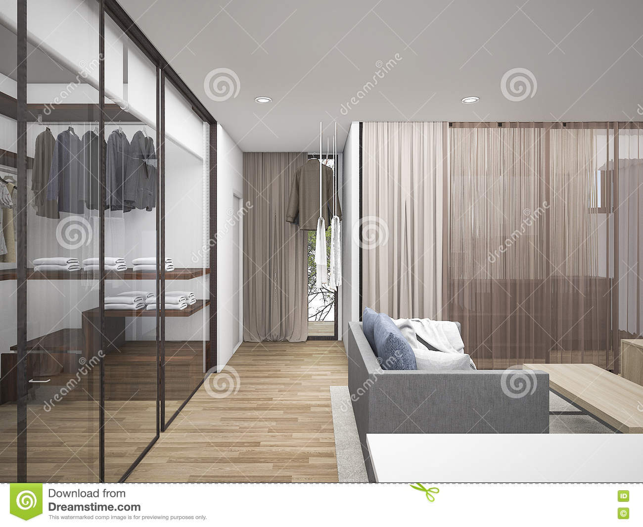 3d Rendering Living Room With Walk In Closet Stock