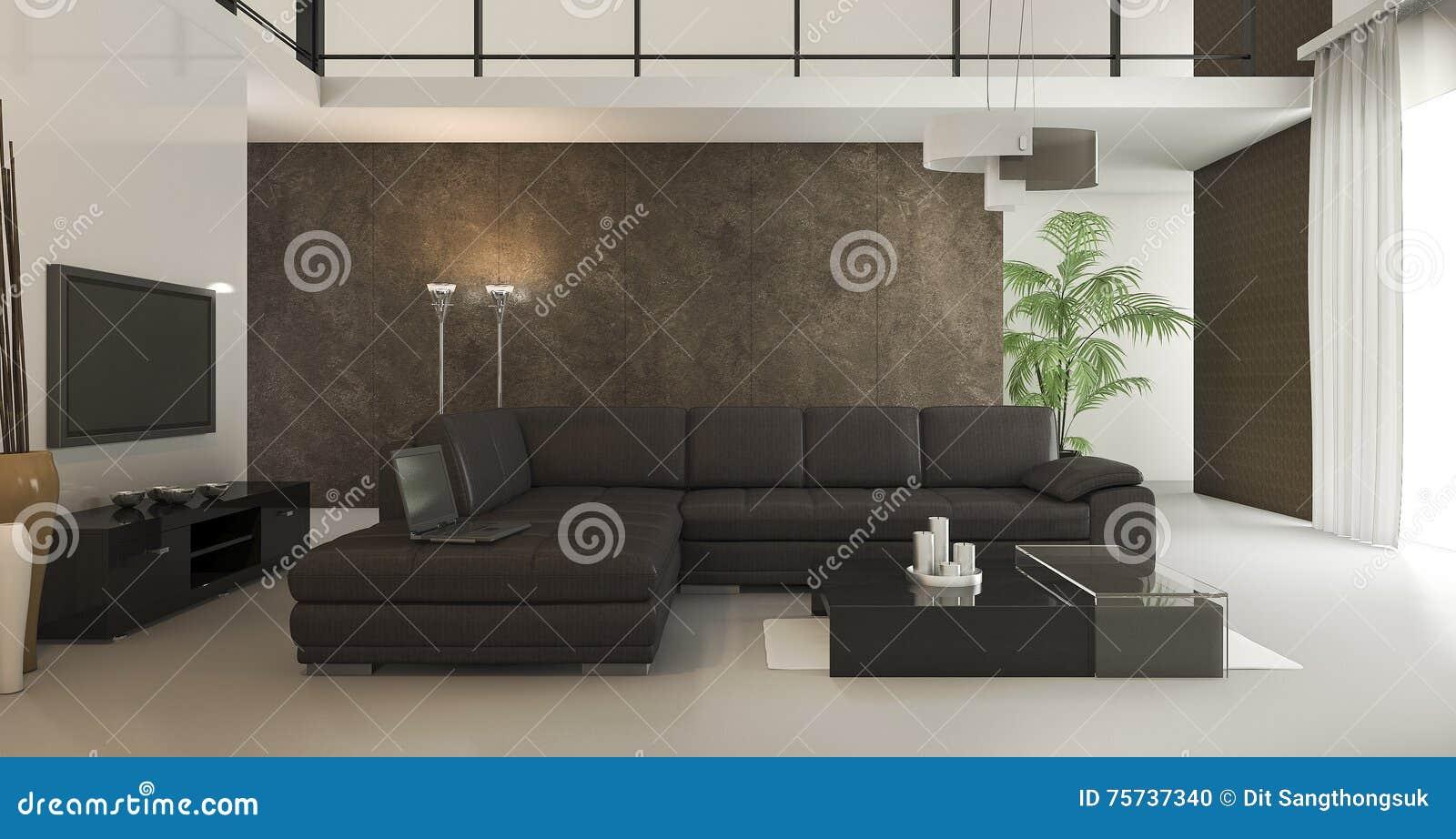 3d rendering loft brown wallpaper living room with for Brown wallpaper for living room