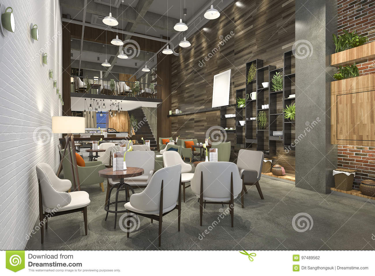 D rendering loft and luxury hotel reception and cafe lounge