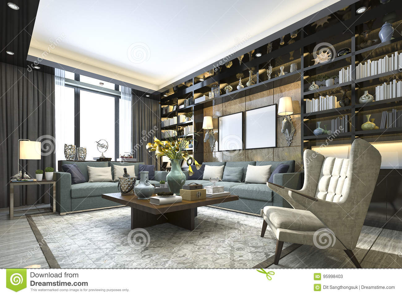 3d rendering loft luxury living room with bookshelf and library
