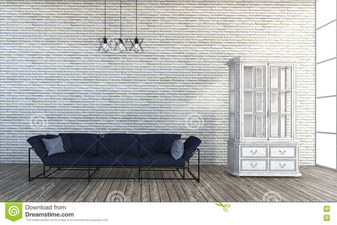 3d Rendering Loft Style Sofa In White Brick Wall Room