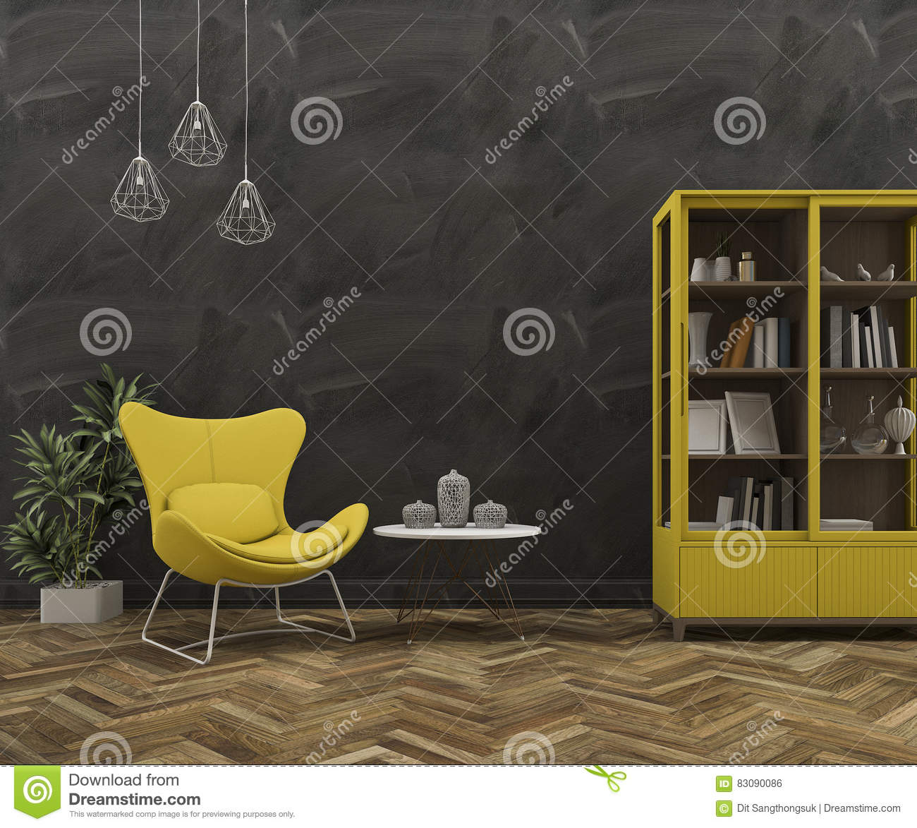 3d rendering loft wall with beautiful yellow armchair and furniture stock - Loftwall