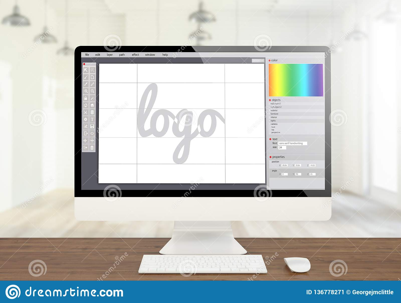 Logo Graphic Design Software Creen Computer Stock Image Image Of Business Work 136778271