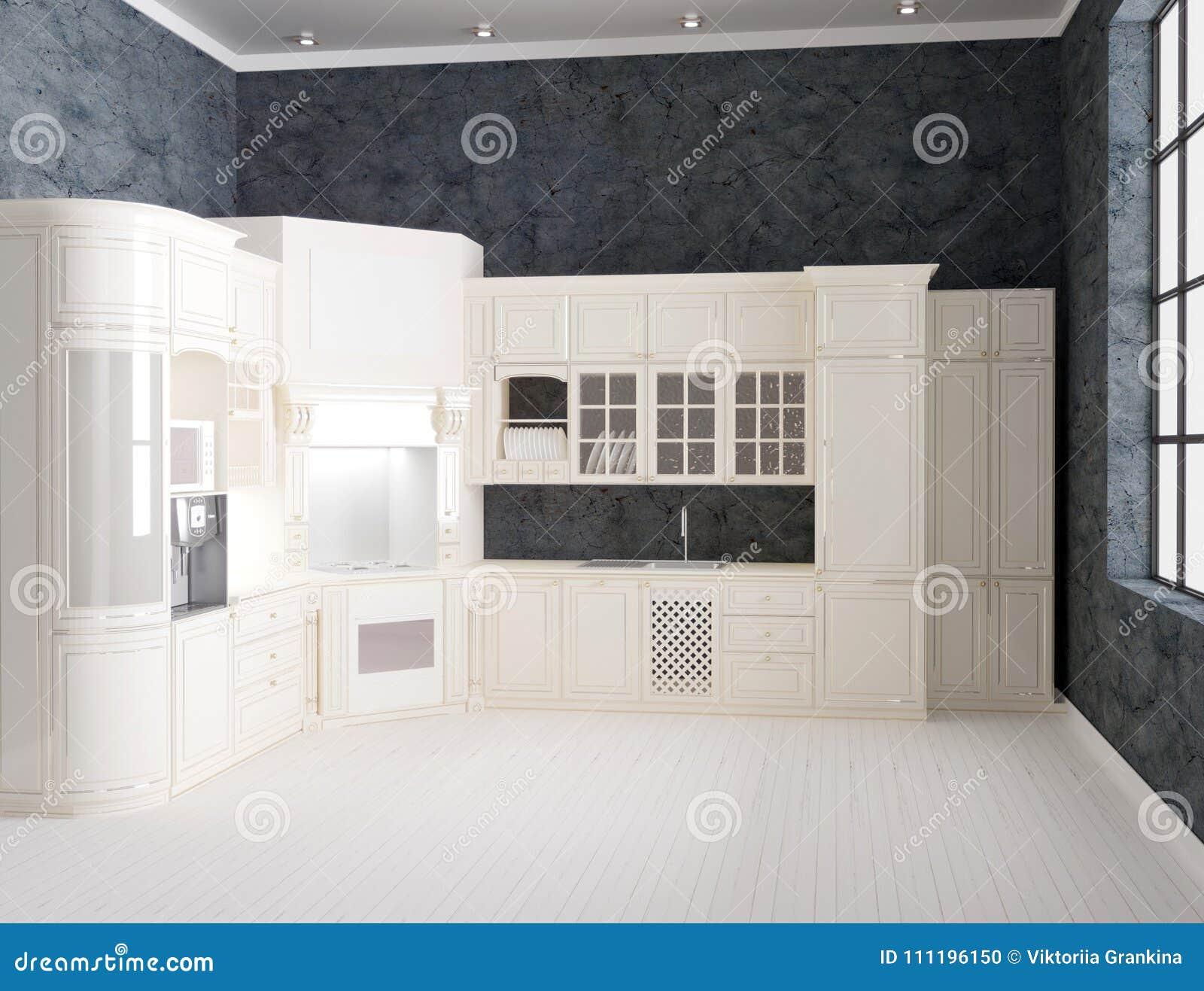 3d rendering luksusowy kuchenny wnętrze