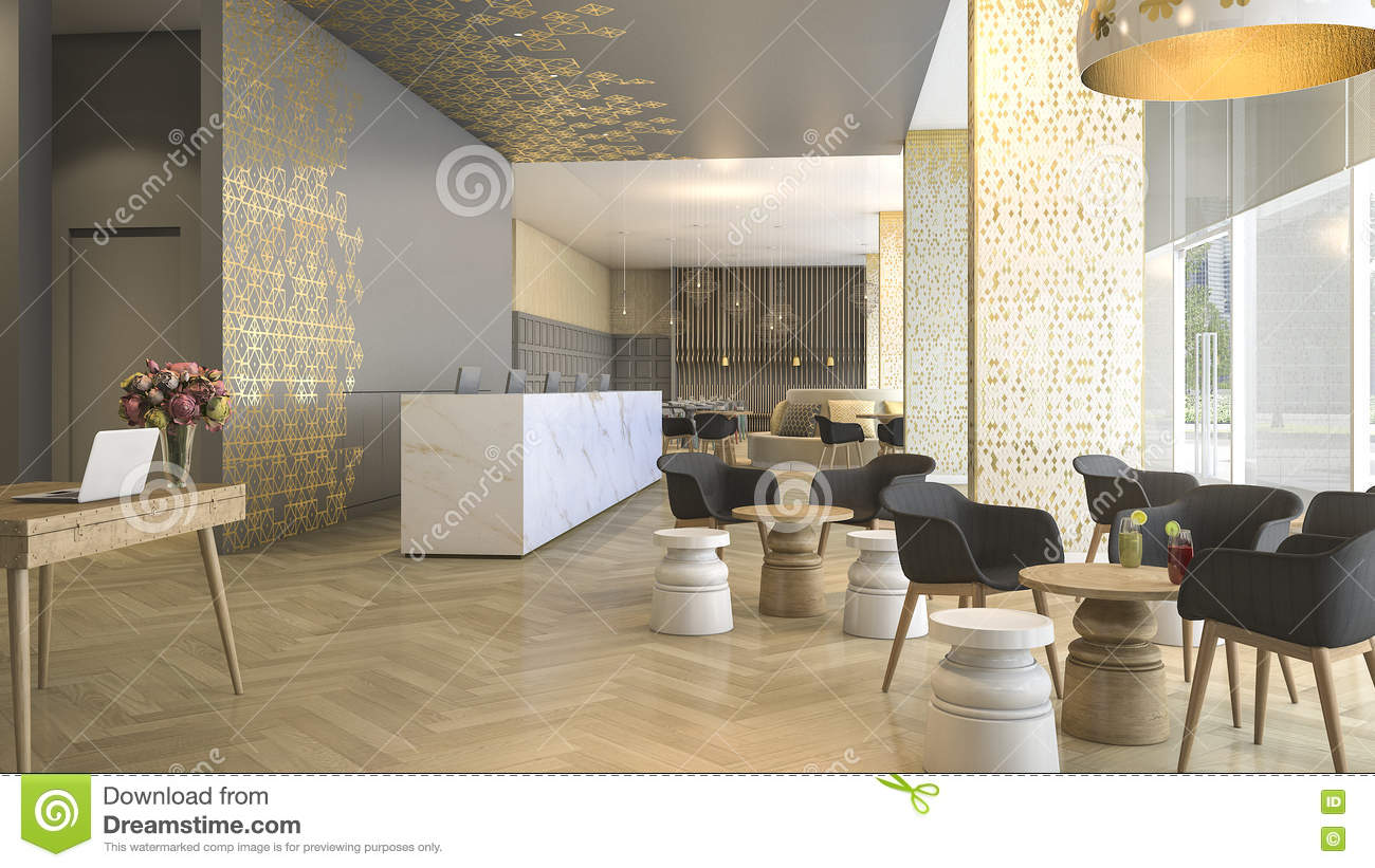 3d Hotel Hall Rendering Royalty Free Stock Photography