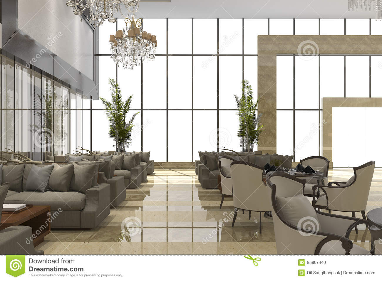3d Rendering Luxury Hotel Reception And Lounge Restaurant Stock Illustration Illustration Of Contemporary Furniture 95807440