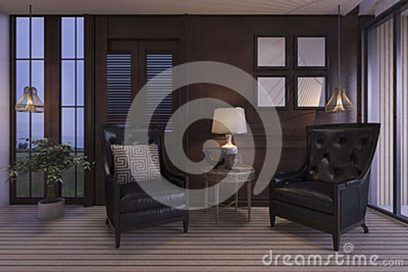 Download 3d Rendering Luxury Living Room With Classic Furniture In Twilight  Scene Stock Illustration   Illustration