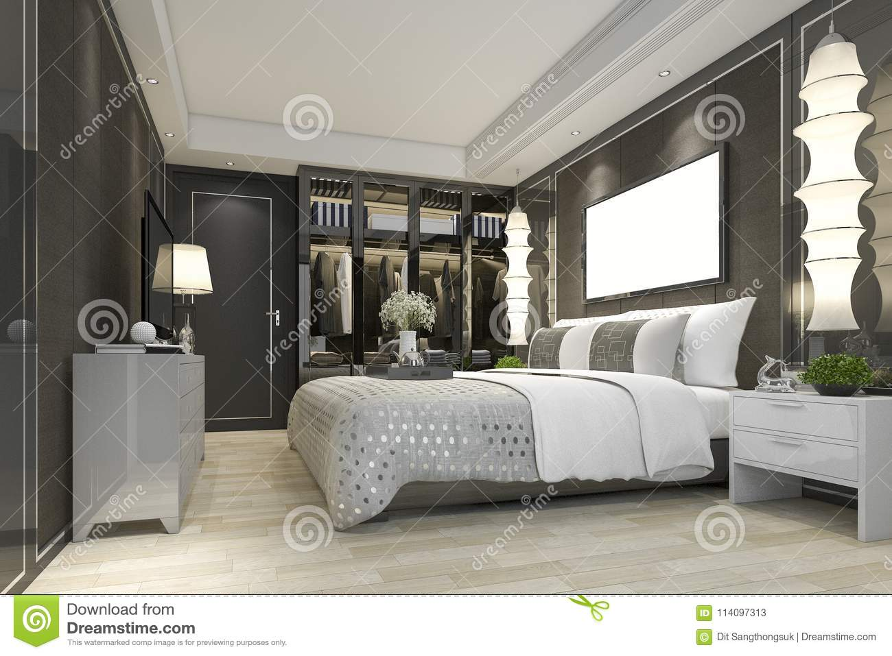 modern bedroom with tv. Perfect Bedroom Download 3d Rendering Luxury Modern Bedroom Suite Tv With Wardrobe And Walk  In Closet Stock Illustration E