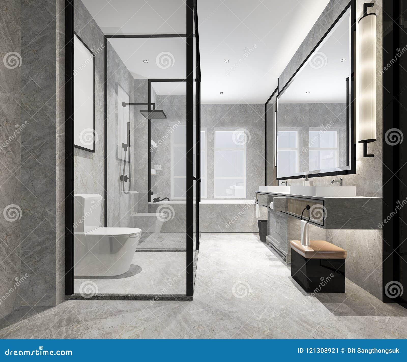 3d Rendering Luxury Modern Design Bathroom And Toilet Stock ...