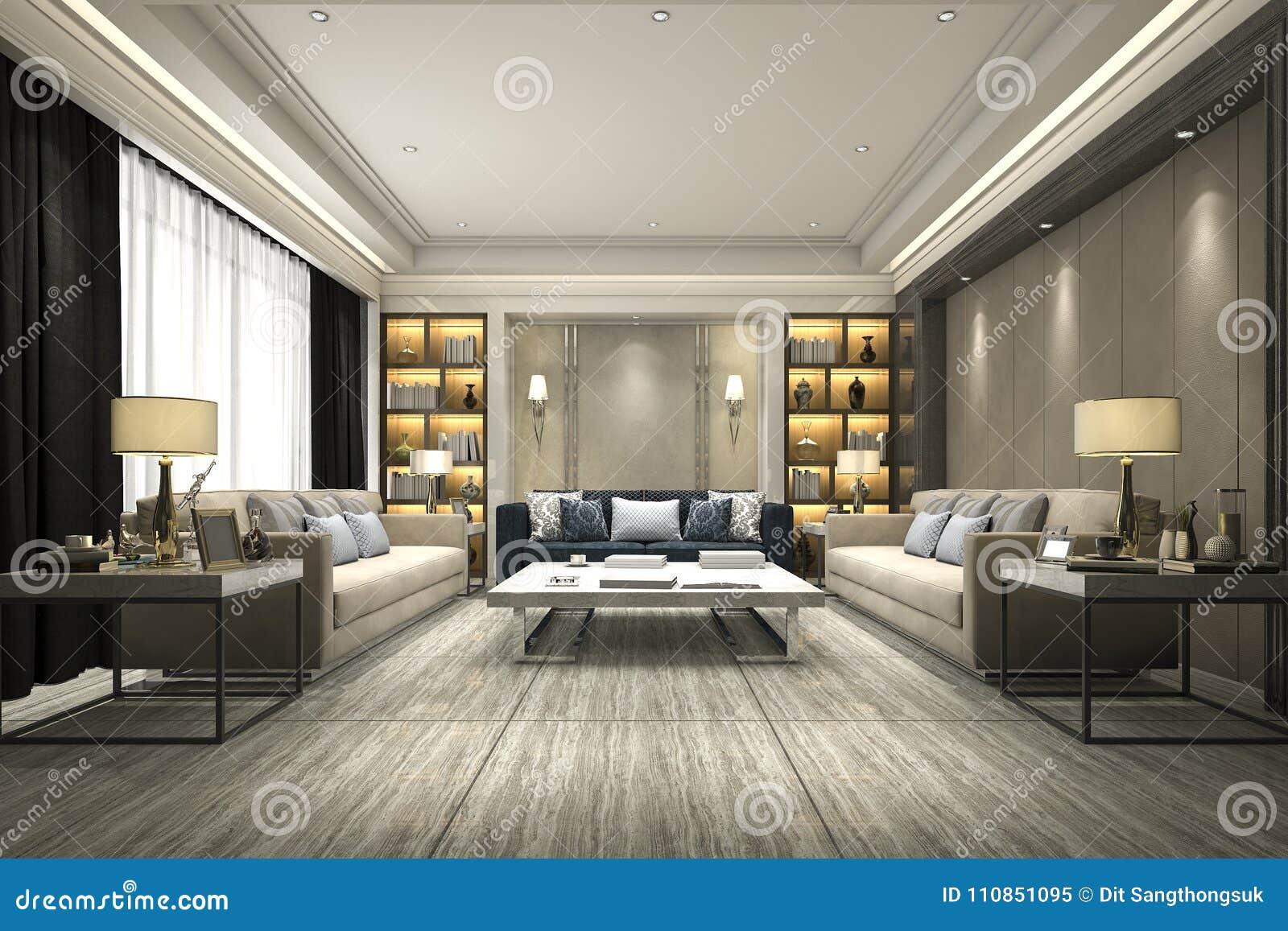 3d rendering luxury and modern living room with bookshelf stock illustration illustration of. Black Bedroom Furniture Sets. Home Design Ideas