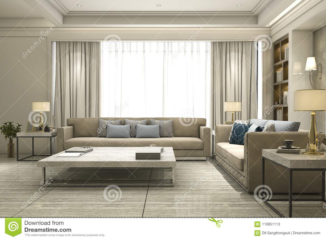 3d Rendering Luxury And Modern Living Room With Bookshelf Stock ...