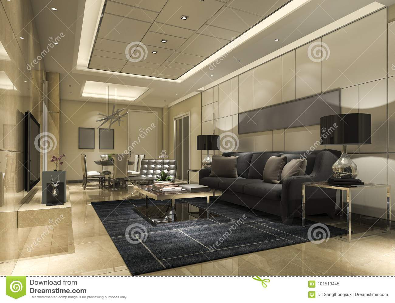 3d Rendering Luxury And Modern Living Room With Golden Wall And Reflect Tile Stock Illustration Illustration Of Indoor Classic 101519445
