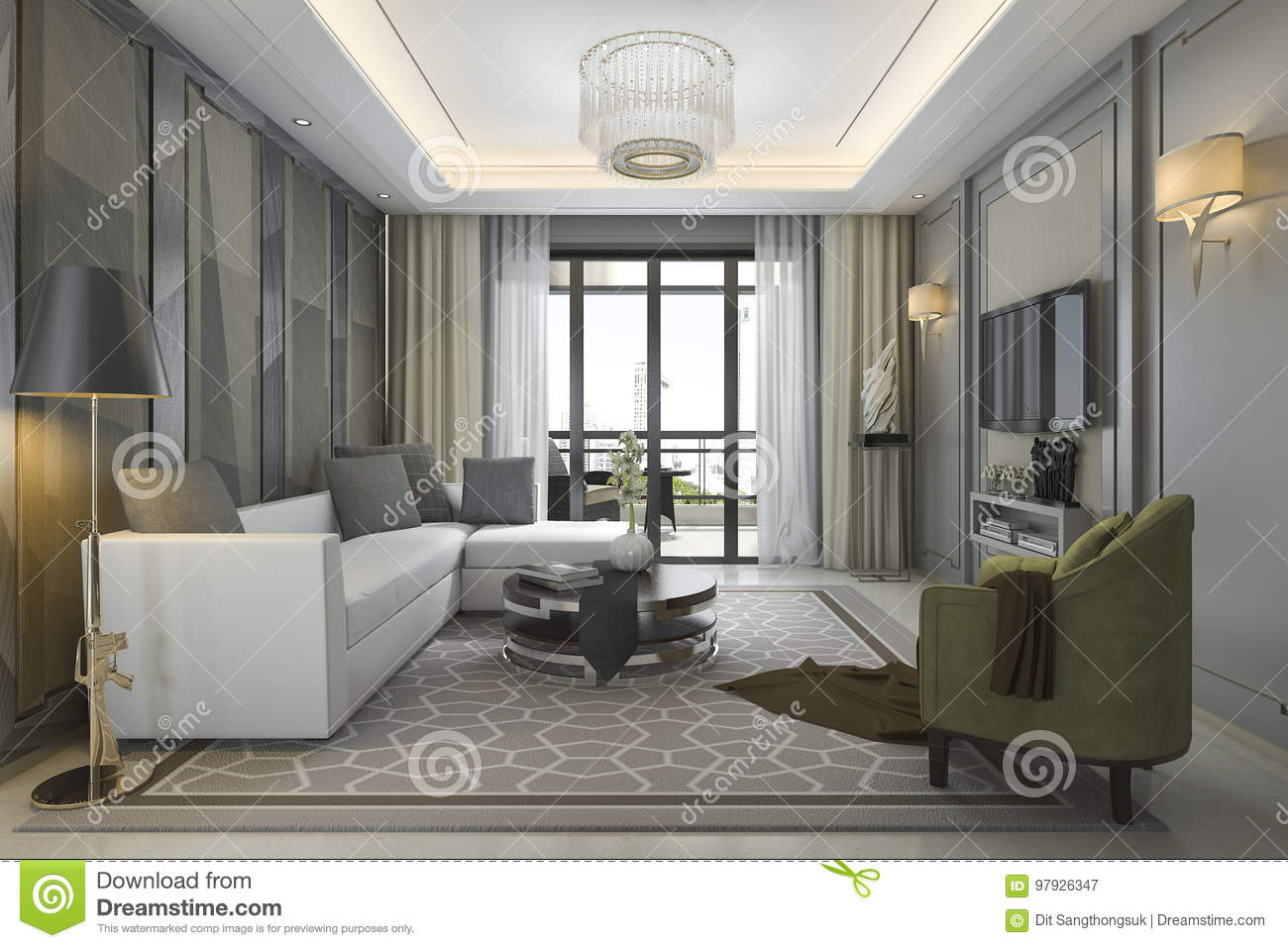 3d rendering luxury and modern living room