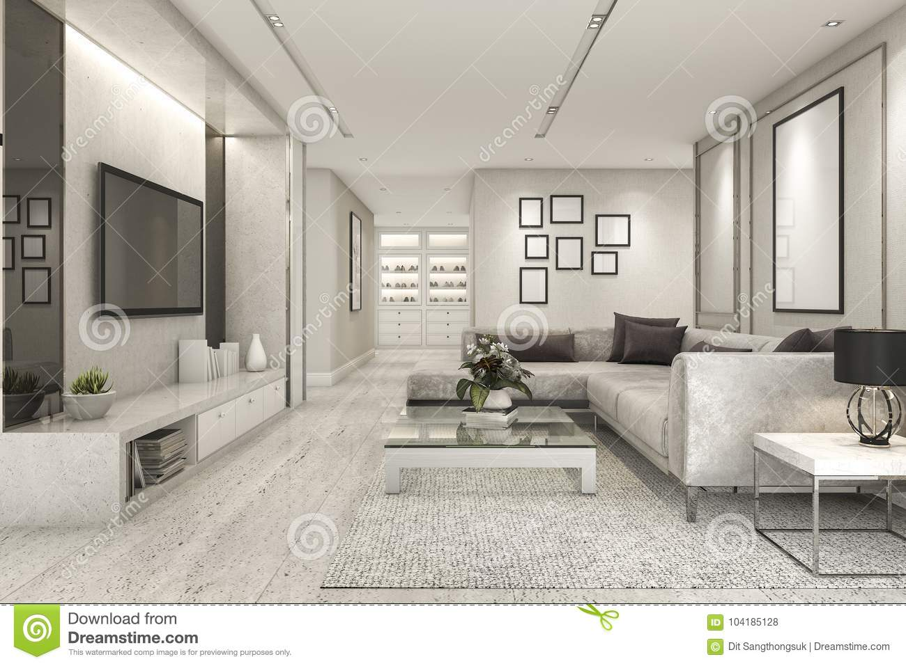 Peachy 3D Rendering Luxury And Modern Living Room With Marble Tile Interior Design Ideas Tzicisoteloinfo