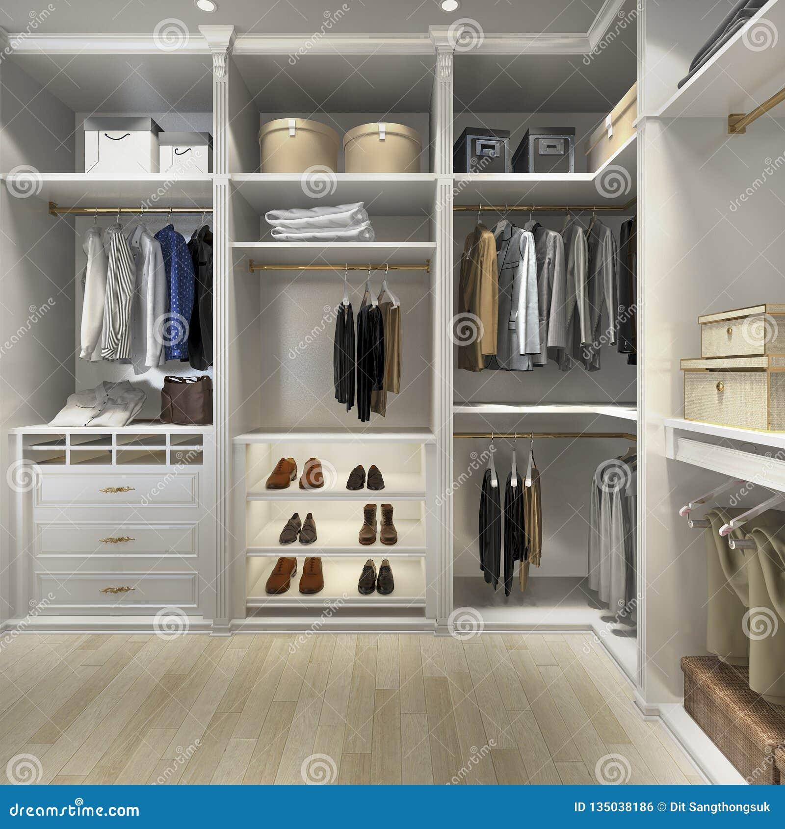 3d Rendering Luxury Scandinavian Wood Walk In Closet With Wardrobe Stock Illustration Illustration Of Jacket Home 135038186