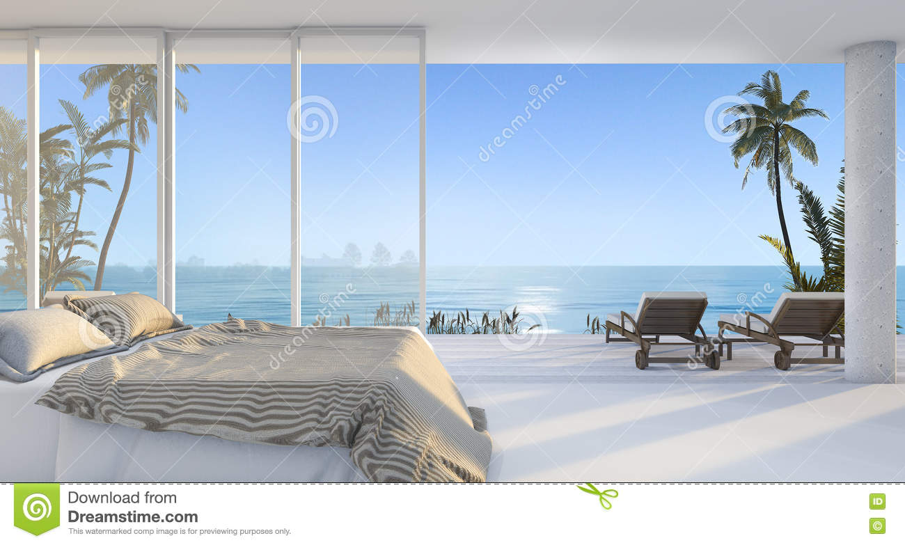 Palm Tree Bedroom Furniture 3d Rendering Luxury Villa Bedroom Near Beach And Palm Tree With