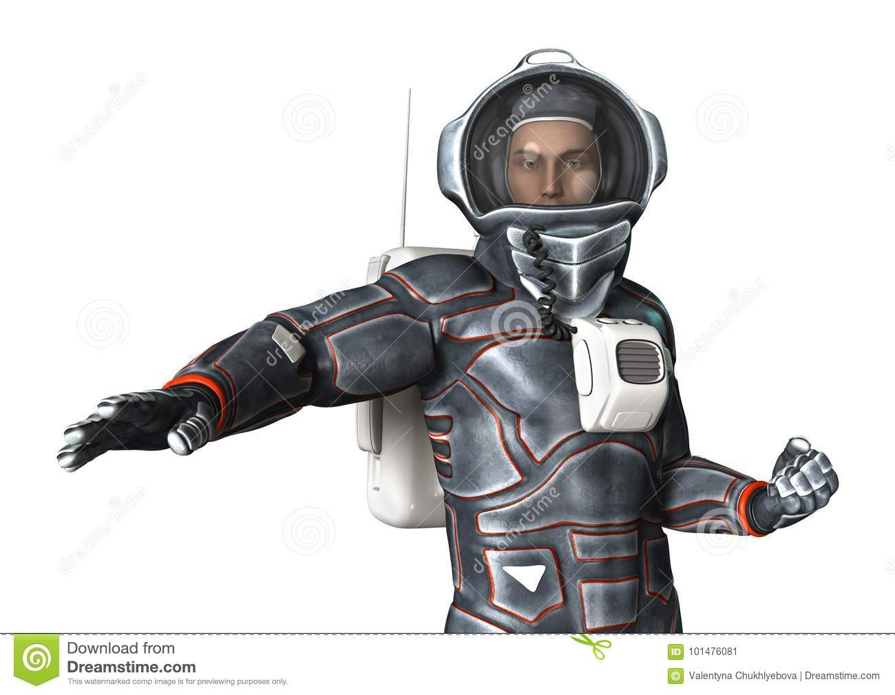 3D Rendering Astronaut On White Stock Illustration - Image ...