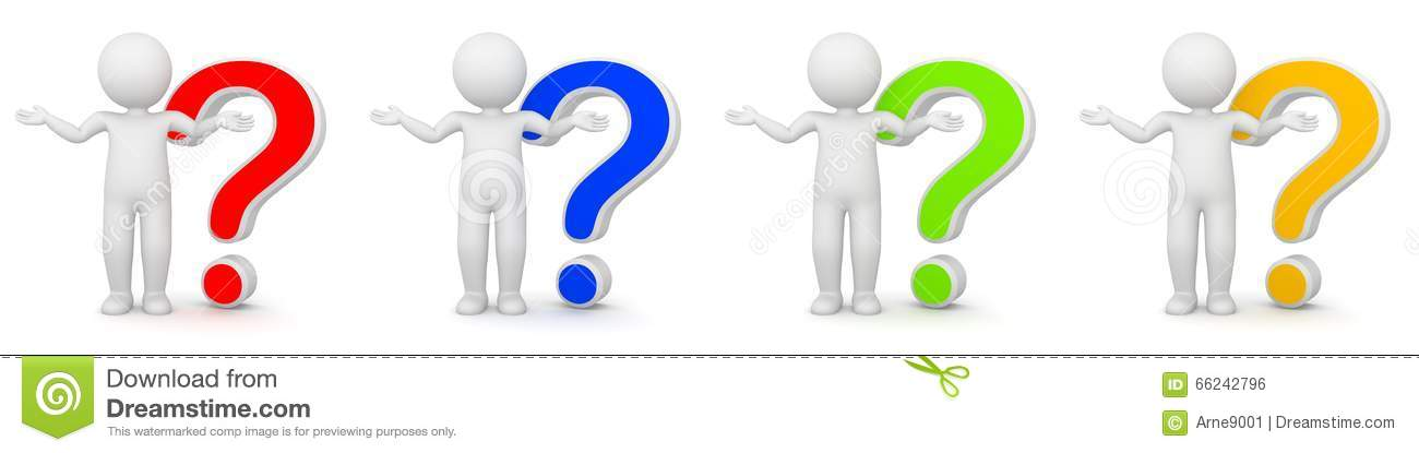 3d Rendering Of Man With Question Mark Stock Illustration