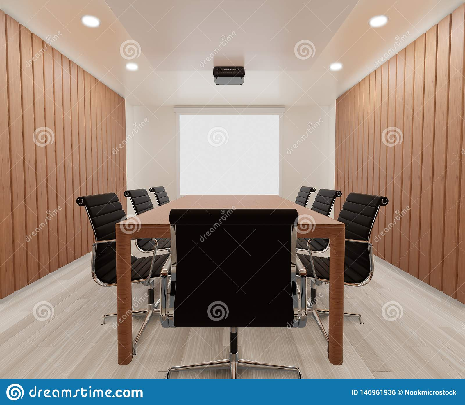 3D rendering meeting room with chairs , wooden table ,mock up , copy space