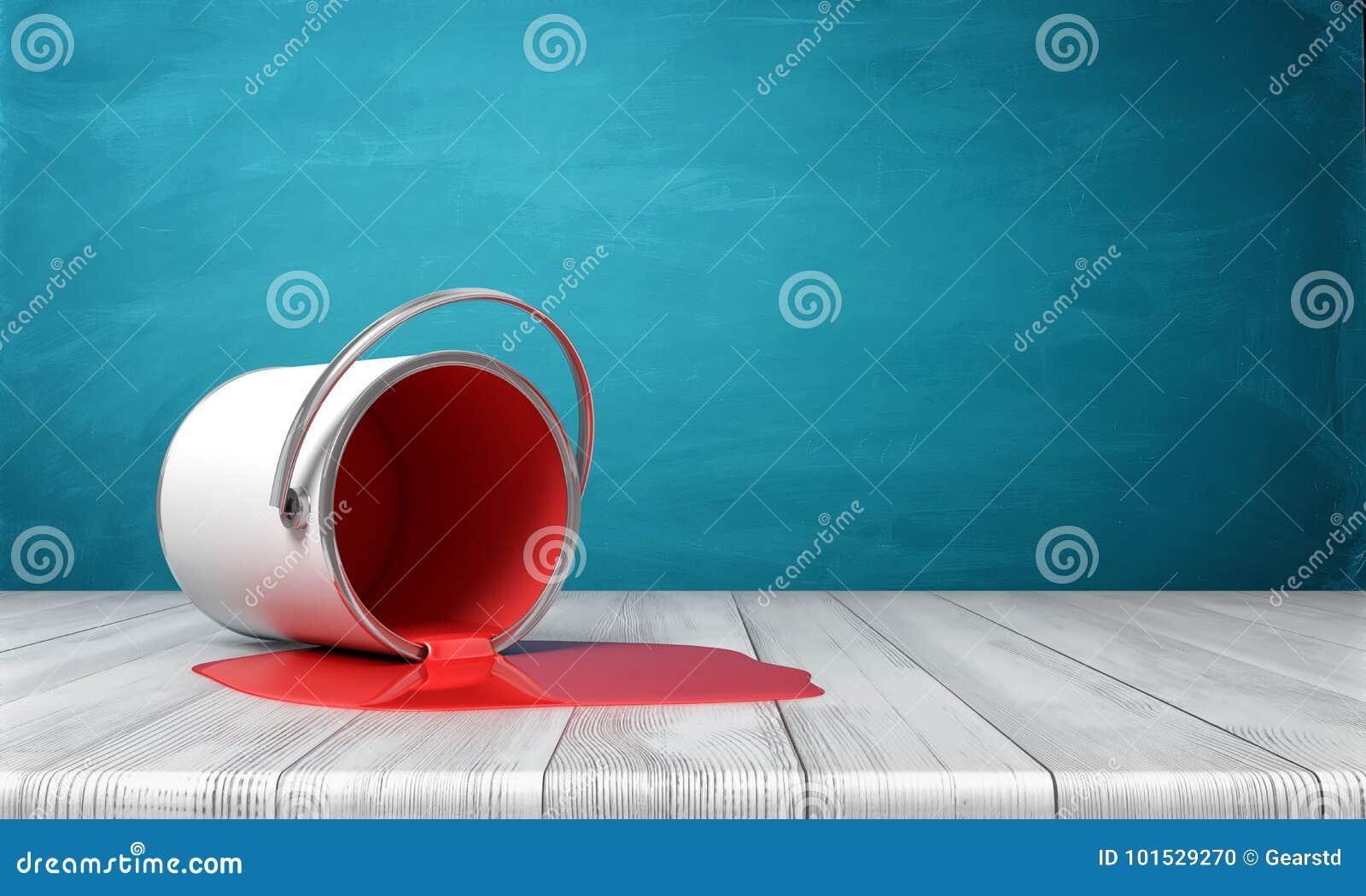 3d rendering metalu wiadro obalający na drewnianym biurku z czerwoną farbą przepuszcza out w kałuży