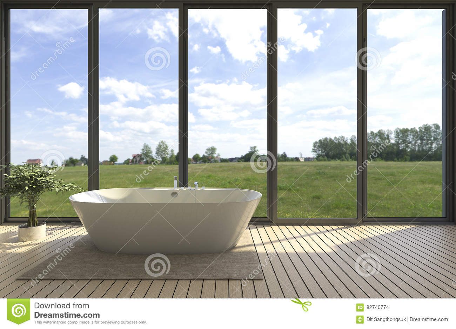 3d Rendering Minimal Bathtub In Wide Bathroom With Nice View Stock ...