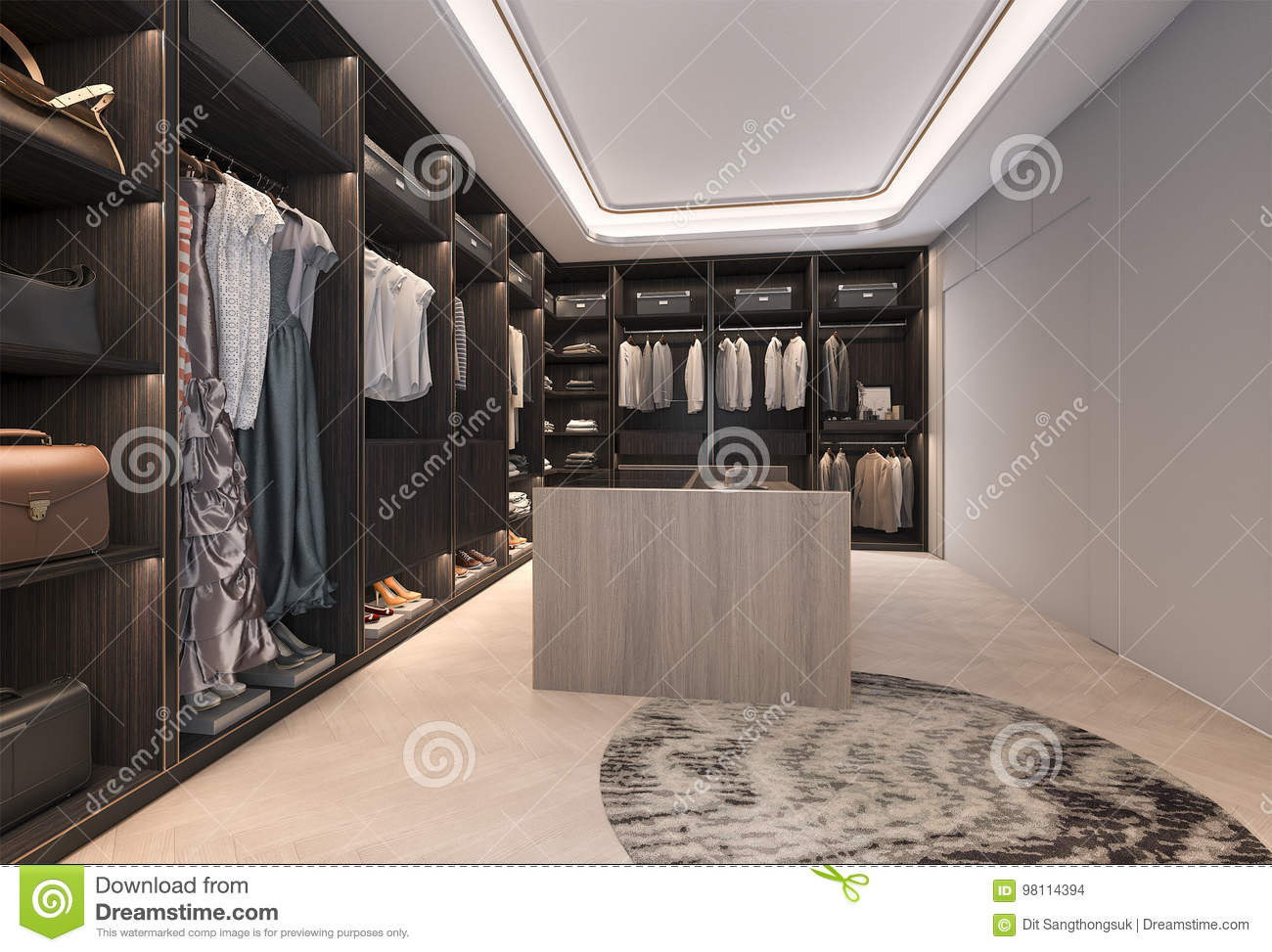 Download 3d Rendering Minimal Loft Dark Wood Walk In Closet With Wardrobe  Stock Illustration   Illustration