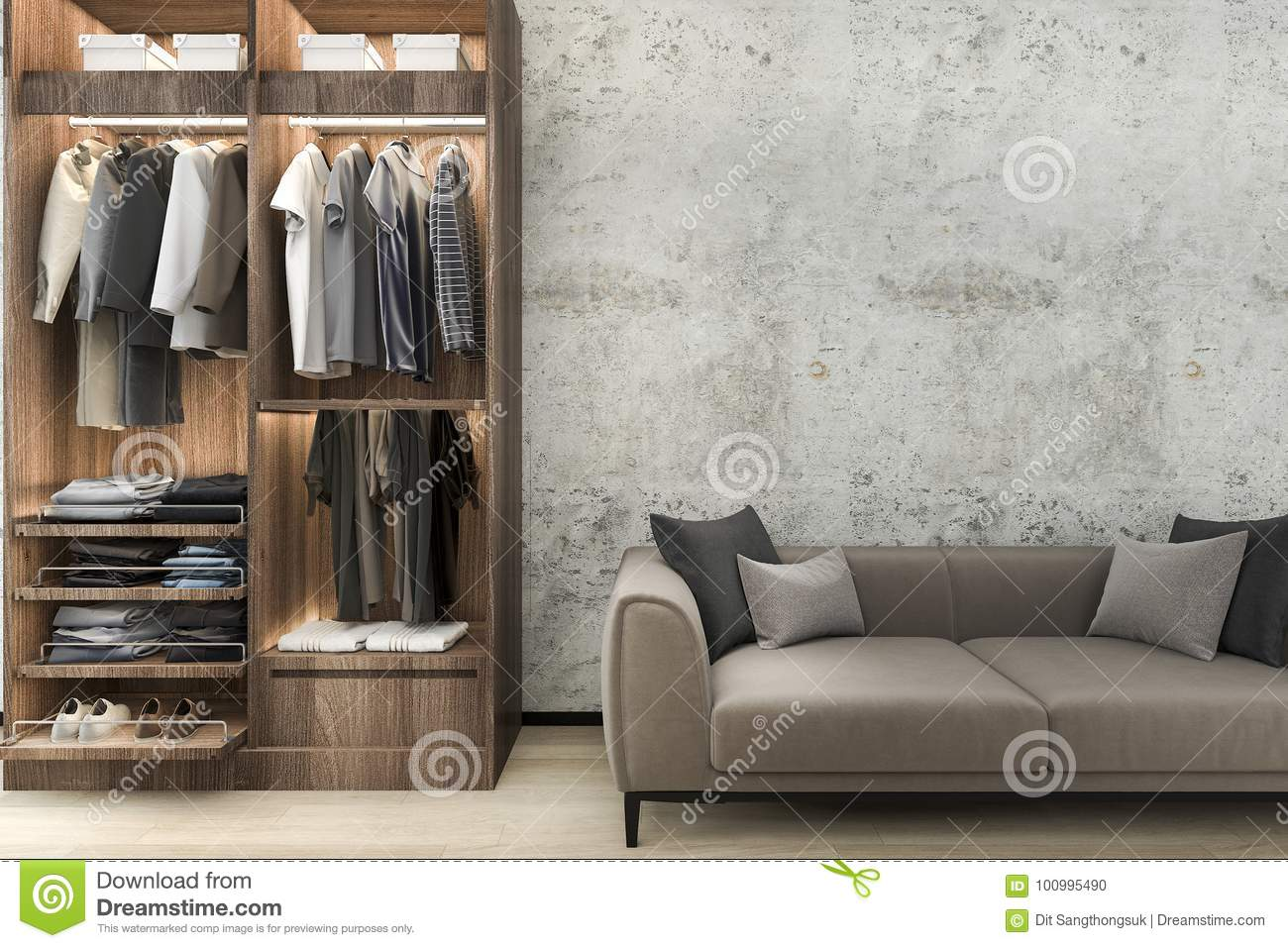 3d Rendering Minimal Loft Sofa With Wood Walk In Closet With
