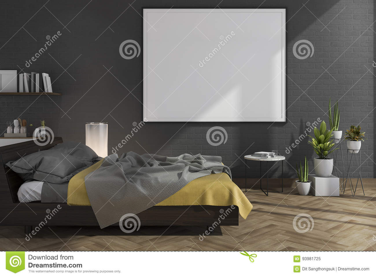 3d rendering mock up on black brick wall bedroom with loft for Time saver details for exterior wall design