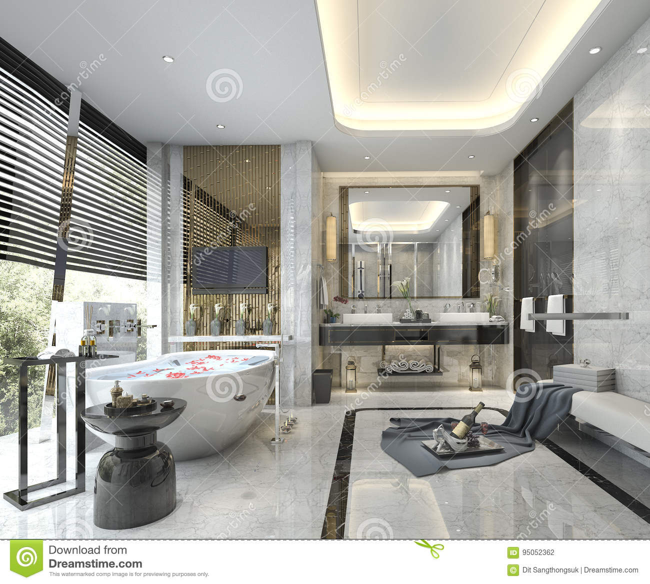 3d rendering modern classic bathroom with luxury tile for Modern classic bathroom ideas