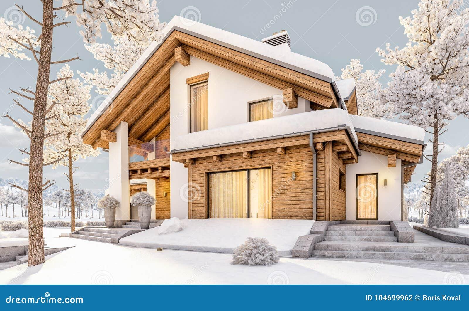 3d rendering of modern cozy house in chalet style stock illustration illustration of design - Moderner chalet stil ...