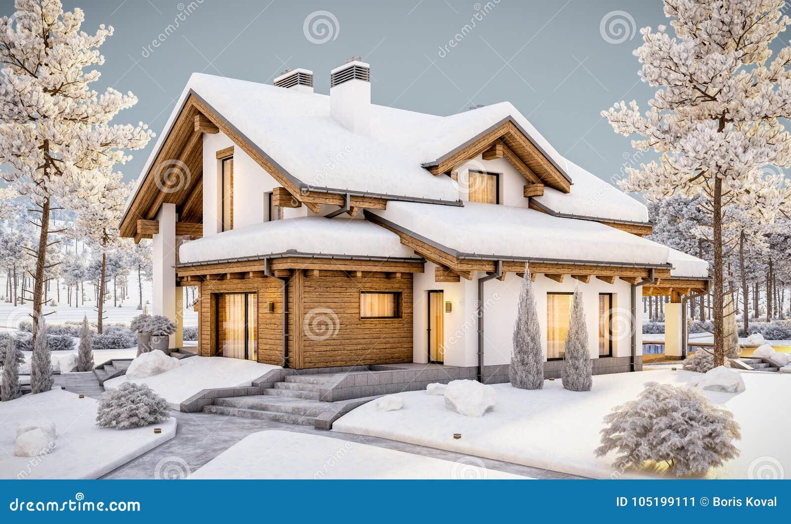 3d rendering of modern cozy house in chalet style stock illustration illustration of patio - Moderner chalet stil ...