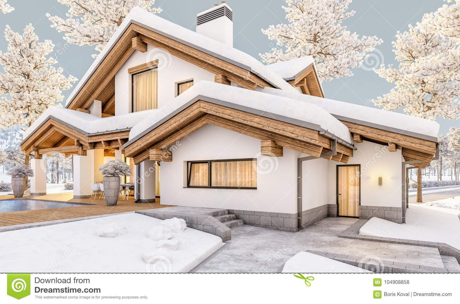 3d rendering of modern cozy house in chalet style stock illustration illustration 104908858 - Moderner chalet stil ...