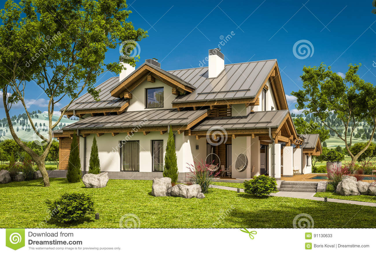 3d rendering of modern cozy house in chalet style stock for Chalet style homes with attached garage