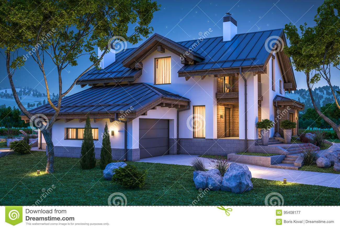 3d Rendering Of Modern Cozy House In Chalet Style Stock