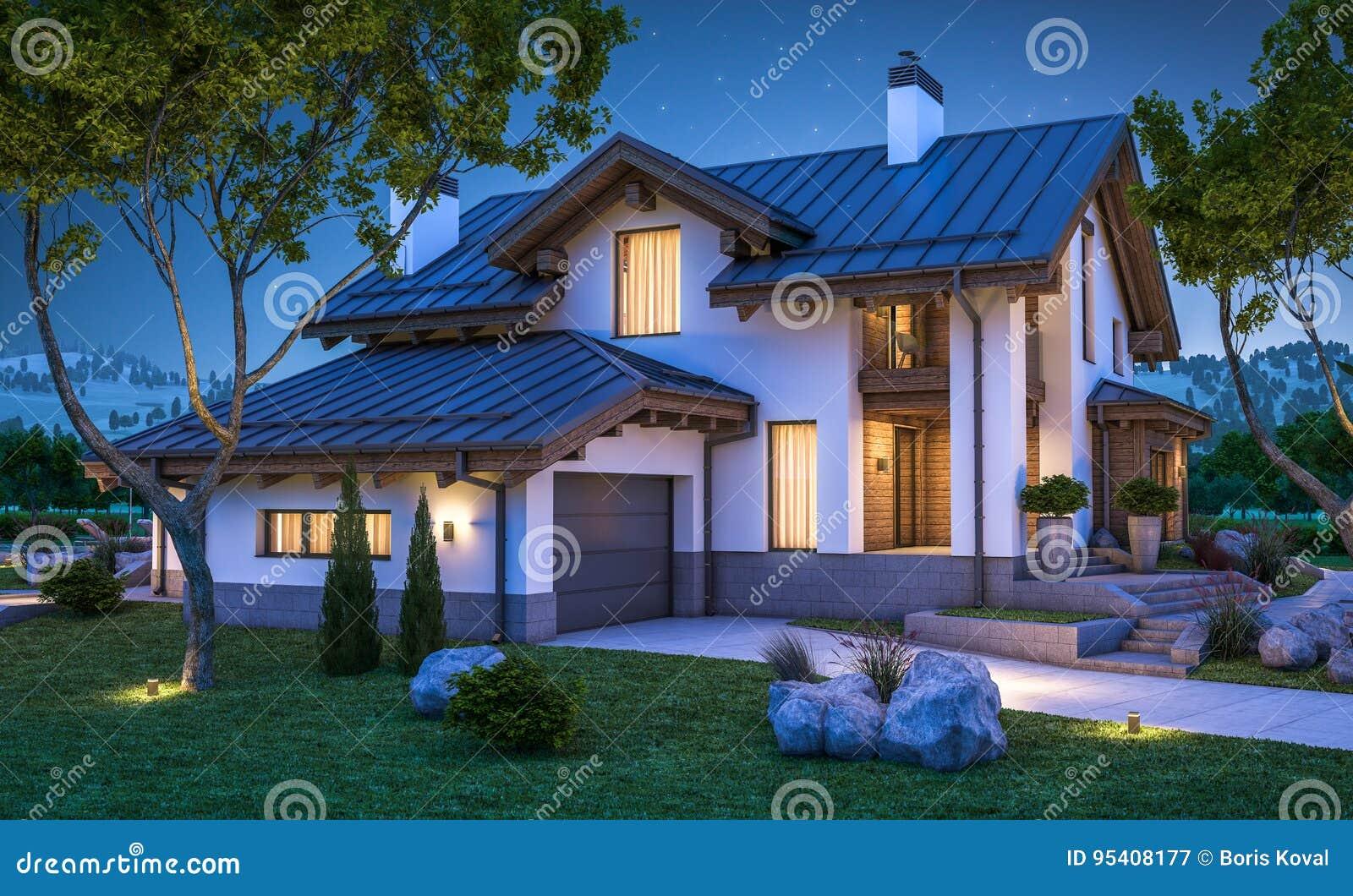 3d rendering of modern cozy house in chalet style stock illustration image 95408177 - Moderner chalet stil ...