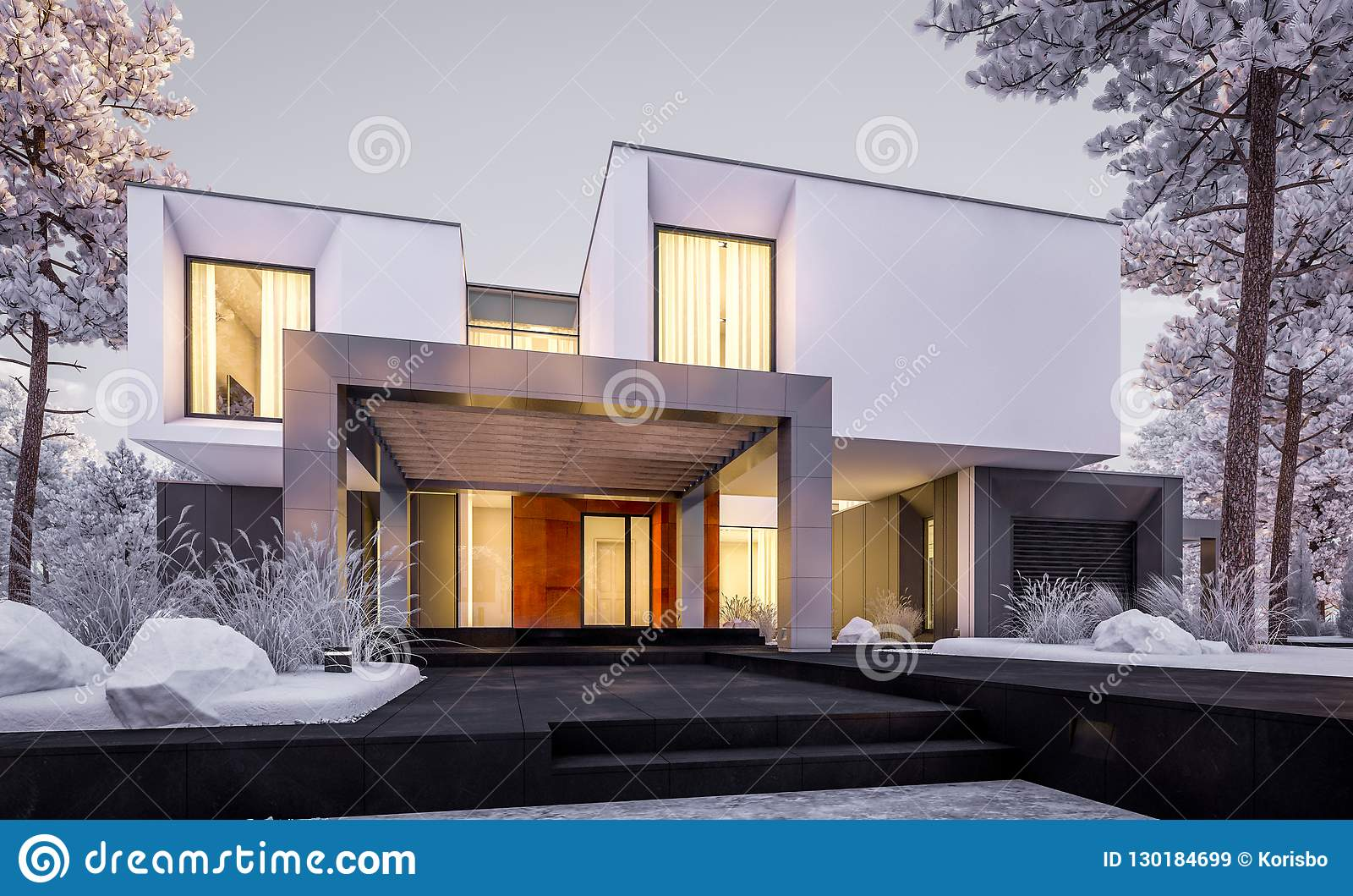 3d Rendering Of Modern House With Garden In Winter Evening Stock
