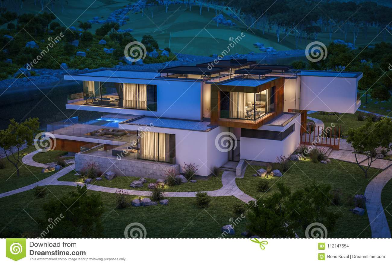 3d Rendering Of Modern House By The River Stock Illustration