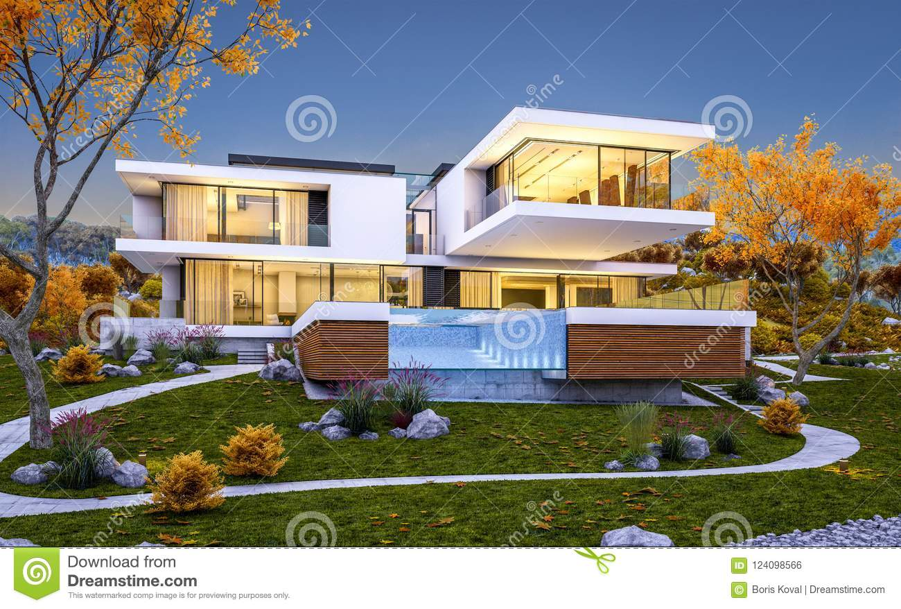 3d rendering of modern cozy house by the river with garage for sale or rent with beautiful mountains on background cool autumn evening with soft light from