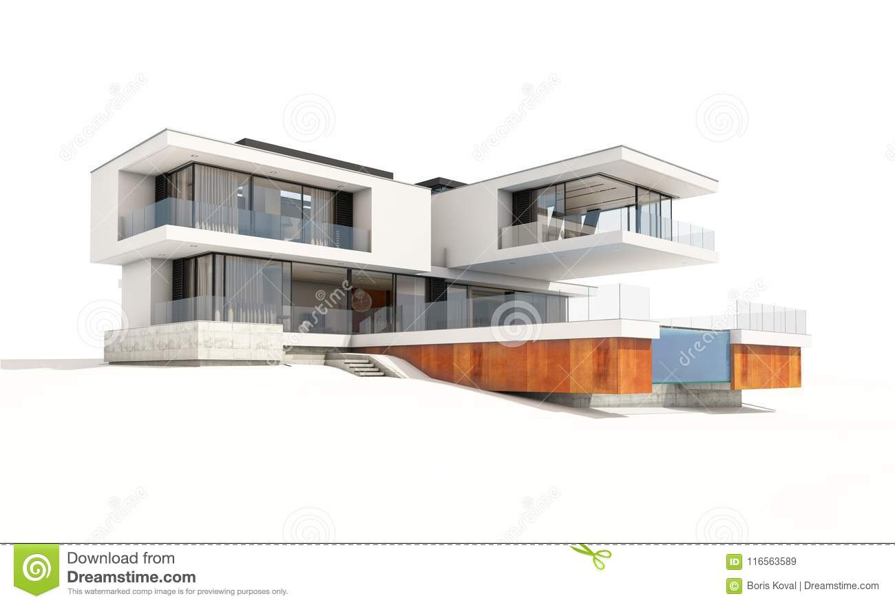3d rendering of modern cozy house by the river with garage for sale or rent isolated on white
