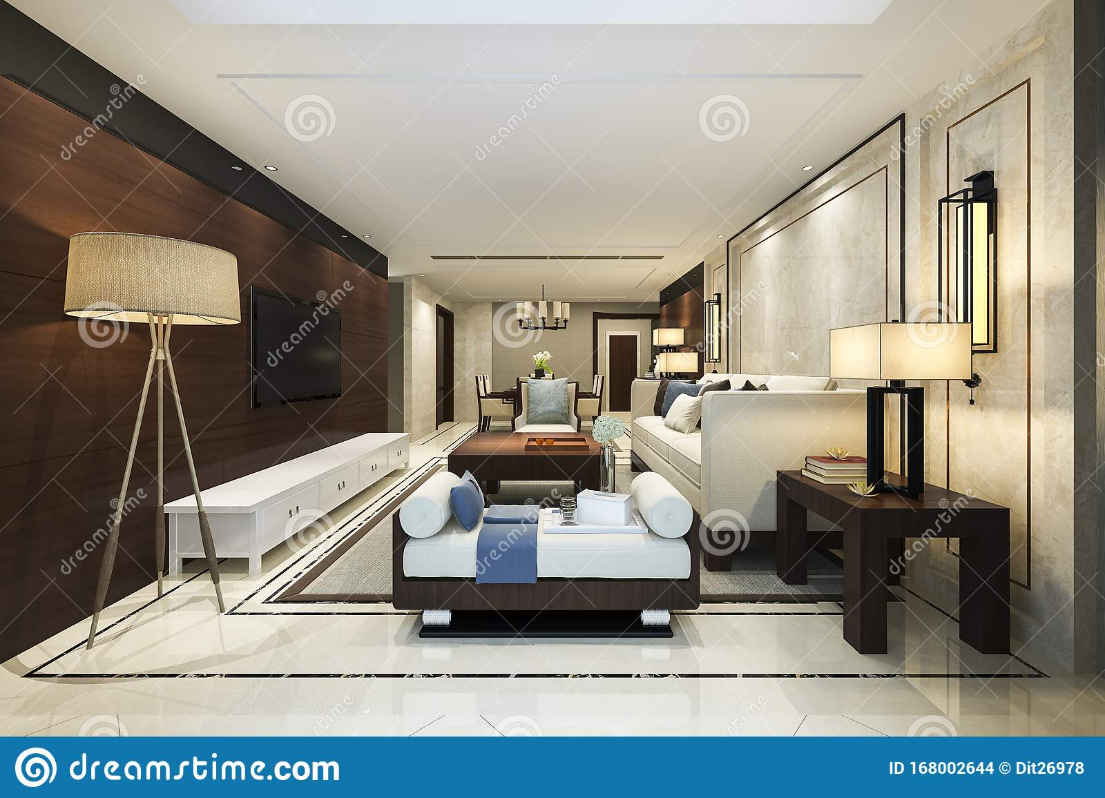 3d Rendering Modern Dining Room And Living Room With Luxury Chinese Decor Stock Illustration Illustration Of Design Contemporary 168002644