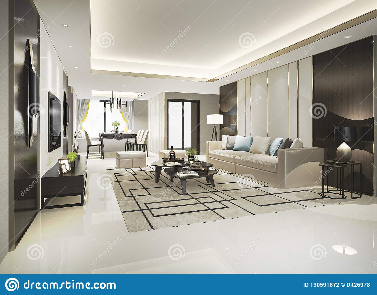3d Rendering Modern Dining Room And Living Room With Luxury Decor Stock Illustration Illustration Of Decor Building 130591872